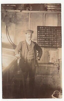 Man Posed In His Workshop Old Real Photo Postcard Posted Stoney Stratford 1911