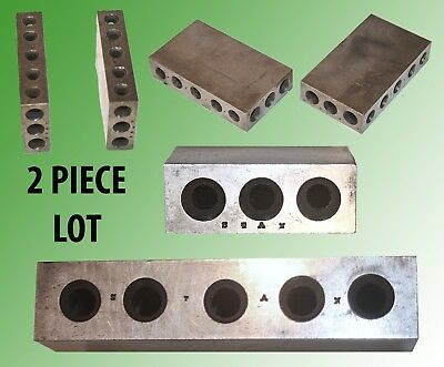 Pair Of Matching Machinists Rectangular Bench Blocks W/ Holes On All 4 Sides