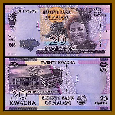Malawi 20 Kwacha, 2016 P-63 New Radar Serial Number 1999991 Unc