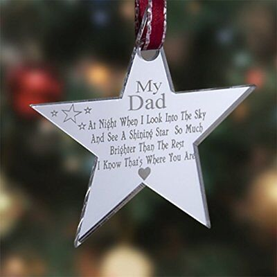 Personalised Acrylic In Memory Star Christmas Tree Decoration Memorial Bauble
