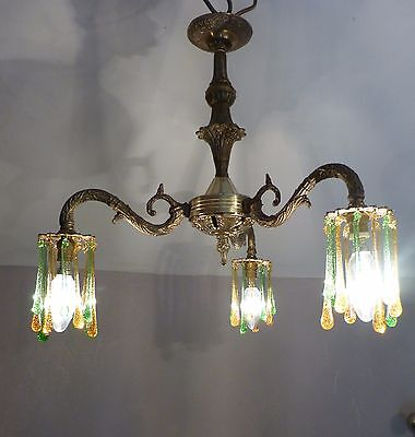 Lovely Vintage Brass Down Light Chandelier with Coloured Glass Drops Rewired