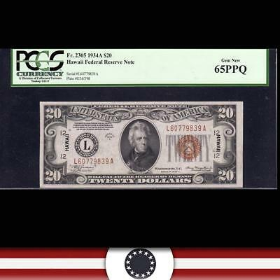 GEM 1934-A $20 HAWAII Federal Reserve Note PCGS 65 PPQ Fr 2305   L60779839A