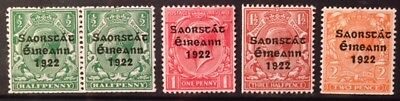 Irish 1922 Harrison 3-line Coil Set of 4 values UM mint, 1/2d pair (SG 67-70)