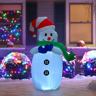 HOMCOM Inflatable Christmas Snowman 120cm Outdoor Decoration with LED Lights