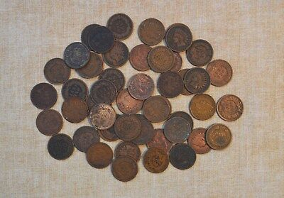 Roll Of 1909 Indian Head Cents - Circulated With Problems - 50 Coins