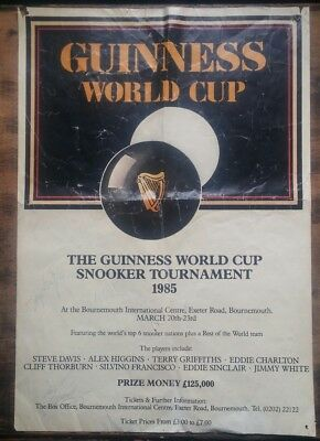 Original Guinness World Cup Snooker Tournament 1985 Poster with Signatures
