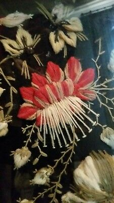 Victorian Yarn work embroidery embroidered needlework framed wreath