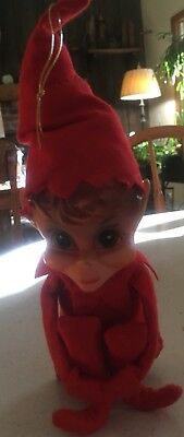 1968 Red Elf Pixie Knee Hugger Shelf Sitter Christmas Kamar Japan