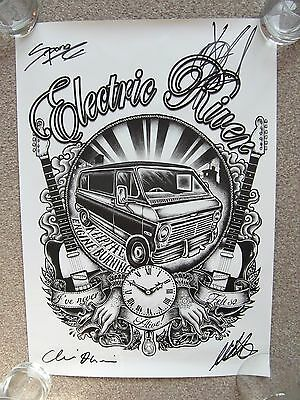 Electric River fully signed art poster (stiff little fingers, the king blues)