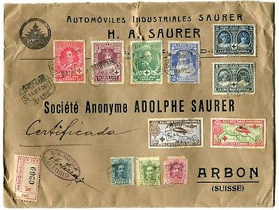 Stamps Spain Registered Cover To Switzerland 1926