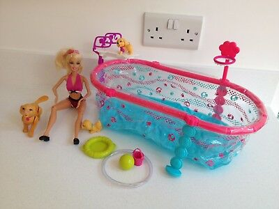 Barbie Puppy Swim School - Swimming Tanner Plus 2 Puppies Pool And Accessories
