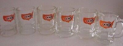 A&W Root Beer Soda Glass Mugs Miniatures 3 oz - Set of 6  -Map of US Logo