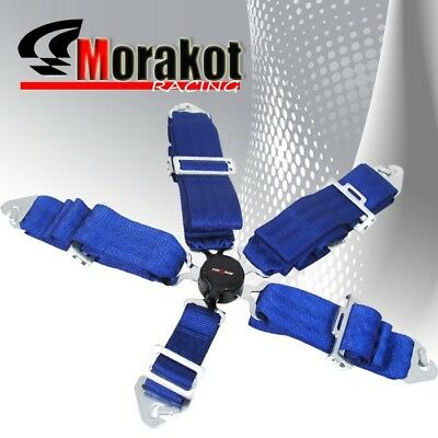 """God Snow 5 Point Camlock 3"""" inch Quick Release Racing Seat Belt Harness Blue"""
