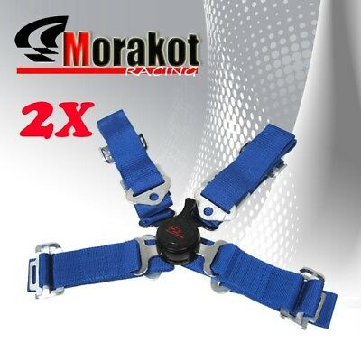 "New 2x (Pair)  2"" inch Nylon Strap 4 Point Camlock Racing Safety Seat Belt Blue"