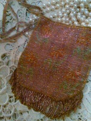 Little pink and green beaded purse vintage