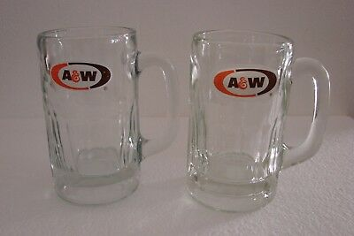 Two A&W Root Beer Soda Glass Mugs Medium 12 oz  -  Orange Brown Oval White Back