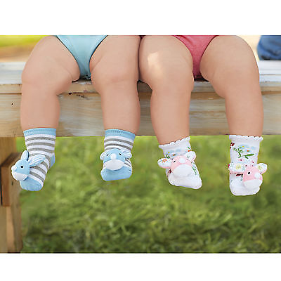Mud Pie E7 Easter Baby Girl Pink Or Boy Blue Bunny Rattle Toe Socks 1542206