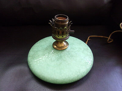 Antique Green JADEITE Floral Glass Pancake Style LAMP, Glows!