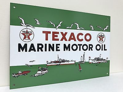 Texaco Marine Motor Oil  Metal Advertising Sign  Oil Gas Gasoline Reproduction