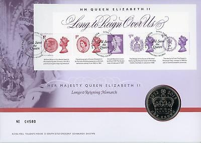 GB 2015 QEII Long to Reign, Royal Mail/Mint 1 Crown Coin Numismatic FDC