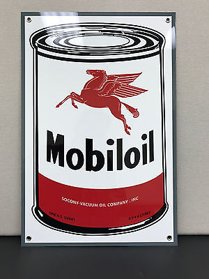 Mobil Oil can vintage advertising sign gasoline racing large Mobiloil