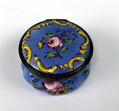 c1780 Battersea Bilston Enamel on Copper Patch Box Blue w/ Floral Painting