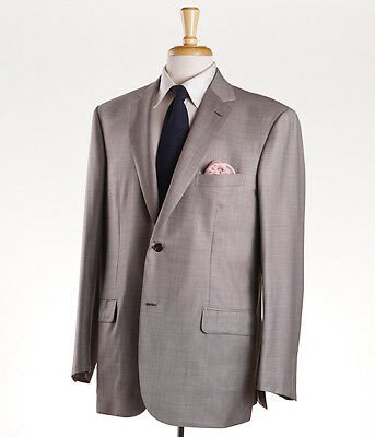NWT $7200 BRIONI 'Colosseo' Brown-Cream Sharkskin Super 180s Wool Suit 44 R