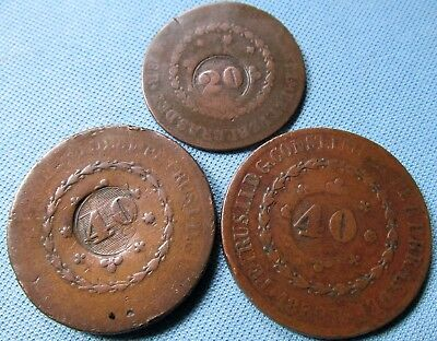 Lot of 3 1800s Brazil Counterstamped Revalued Copper Reis Coins 1832 1830 1828