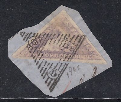 Cape of Good Hope SG 7 Scott 5 6d Lilac Triangle Seated Hope on Piece CV $240
