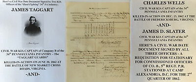 CIVIL WAR CAPTAIN 34th PENNSYLVANIA INFANTRY DOCUMENT SIGNED BY 2 KIA CAPTAINS!!