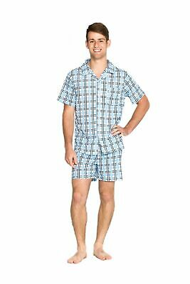 Pyjamas Mens Short Summer Pyjamas (S-XXL) Pjs Set Blue Checkered Sz S M L XL XXL