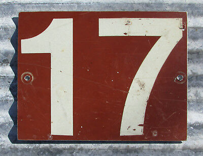 Vintage Number 17 Metal Sign Government Trail Forest Military Road Highway Old