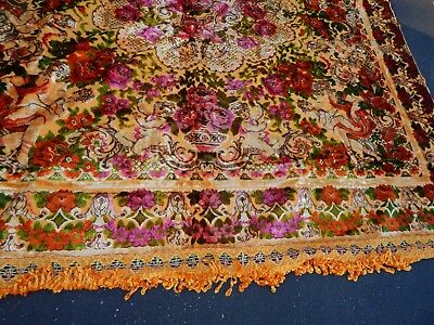 vintage bedspread hollywood glam chenille fringed cherub roses angel throw italy
