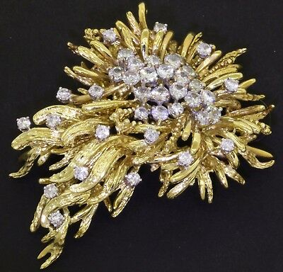 Vintage heavy 18K gold amazing 3.30CT diamond cluster hinged brooch