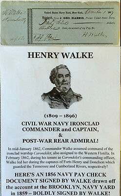 Civil War Navy Ironclad Captain Admiral Uss Carondelet Walke Pay Document Signed