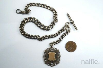 ANTIQUE ENGLISH STERLING SILVER ALBERT POCKET WATCH CHAIN w/ MEDAL FOB $1 N/R