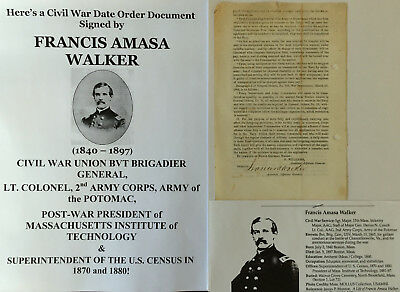 CIVIL WAR GENERAL COLONEL 2nd AC ARMY POTOMAC MIT PRESIDENT WALKER LETTER SIGNED