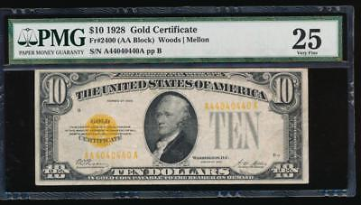 AC Fr 2400 1928 $10 Gold Certificate PMG 25 binary serial number