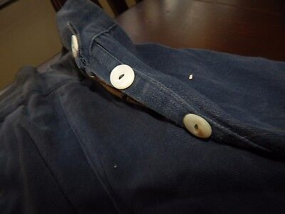 vintage denim navy sailor 30s pants cotton shell buttons military usa twill jean