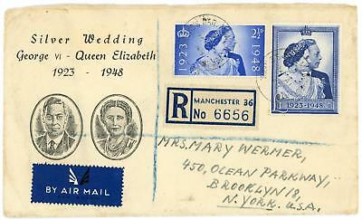 GB 1948 Silver Wedding illustrated FDC to USA MANCHESTER CDS Cat £400