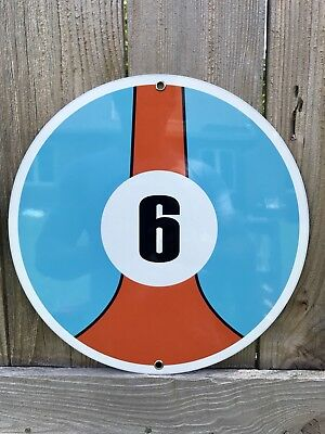 Gulf racing garage sign man cave advertising ford porsche round