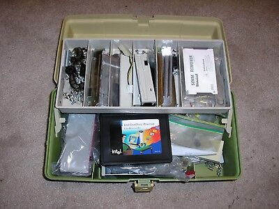 Vintage Computer Parts Kit in a Tackle Box