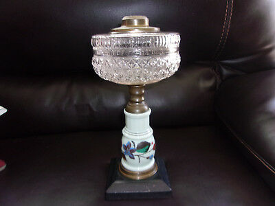 Antique Composite Diamond Font Glass OIL LAMP, Manganese Porcelain Stem - Glows