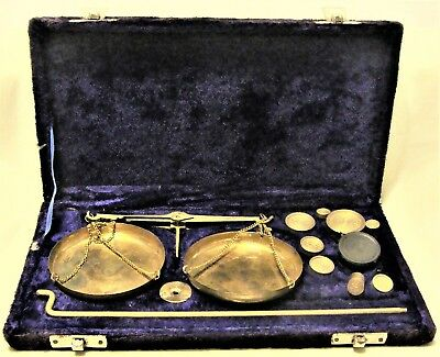 ANTIQUE APOTHECARY 100 GRAM PORTABLE SCALES COMPLETE w/ CASE FROM INDIA