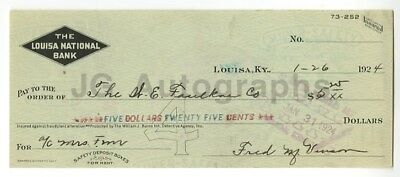 Fred Vinson - Chief Justice of the Supreme - Autographed 1924 Canceled Check