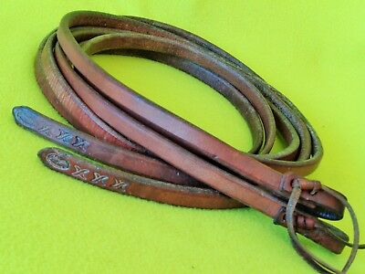 """CALVIN ALLEN 8' 4""""x 5/8"""" WEIGHTED Tail HARNESS Leather Split REINS~Show Train~NR"""