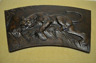 Bronze Tiger Chinese Feng Shui  wall hang art sculpture late 20th century