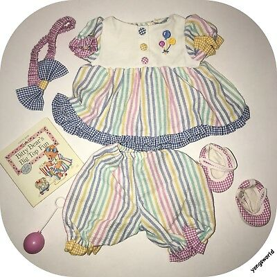 American Girl Bitty Baby 1999 Circus Set Outfit Dress Shoes Balloon Book Lot