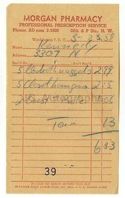 John F. Kennedy - Original Vintage U.S. Senate Era Receipt - 1959