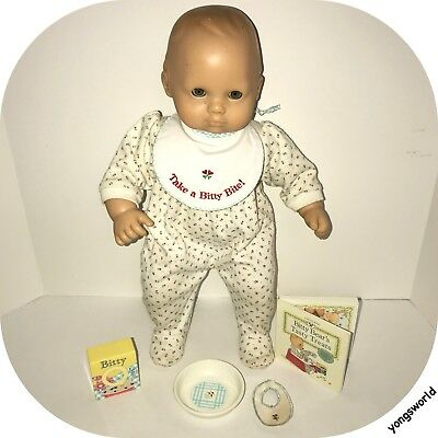American Girl Bitty Baby Doll With 1995 Breakfast Set Plate Bib Outfit Lot